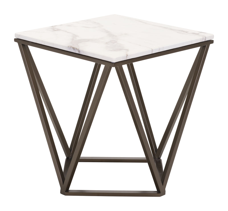 Tintern End Table (Stone & Antique Brass)
