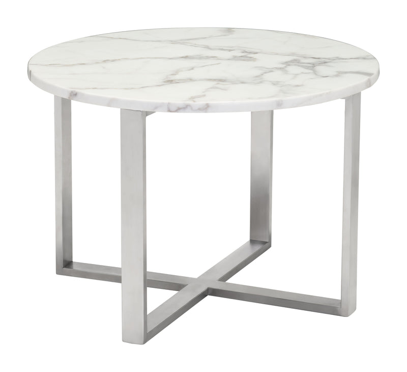Globe End Table (Stone & SS)