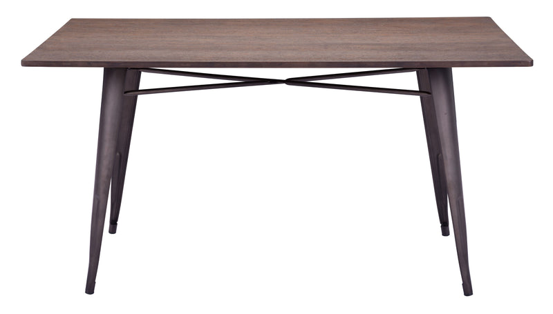 Titus Rectangular Dining Table (Rustic Wood)