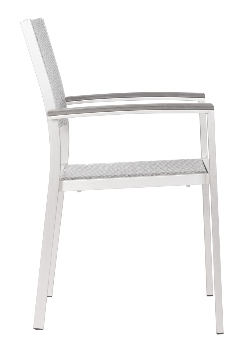 Metropolitan Dining Arm Chair (Brushed Aluminum)