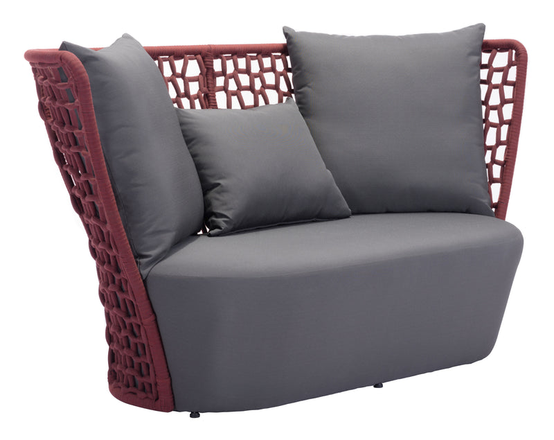 Faye Bay Beach Sofa (Cranberry & Gray)