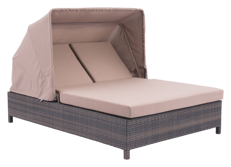 Siesta Key Double Chaise Lounge (Brown & Beige)
