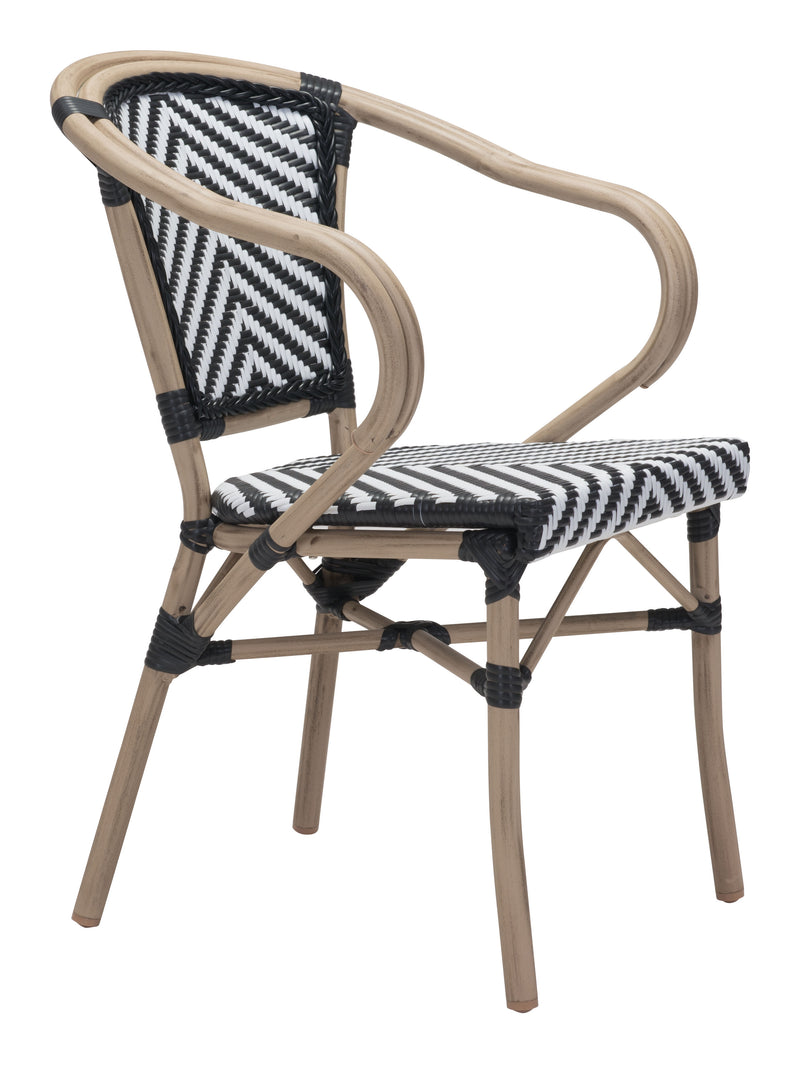 Paris Dining Arm Chair (Black & White)