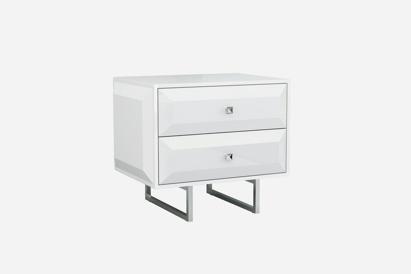 Abrazo Night Stand, high gloss white, 2 self-close drawers with geometric design, chrome handles, stainless steel base