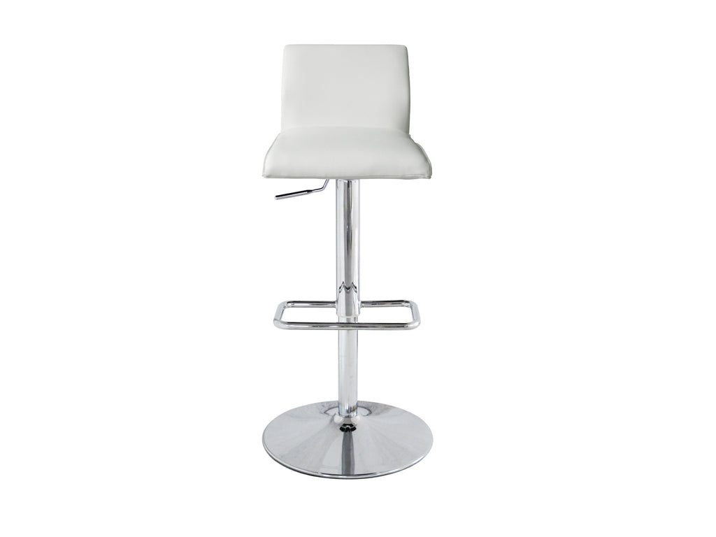 Ace Barstool, White Faux Leather, Chrome base