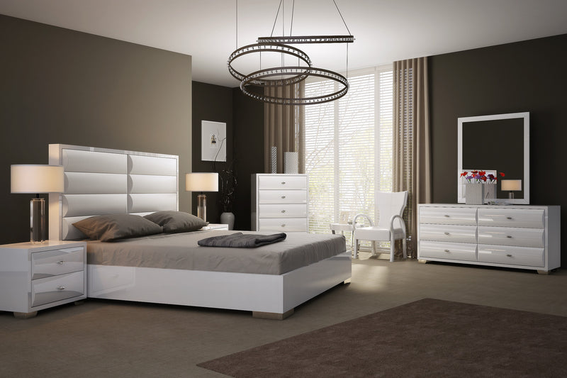 Alexander Bed King, high gloss white, white faux leather curved design in headboard, stainless steel legs