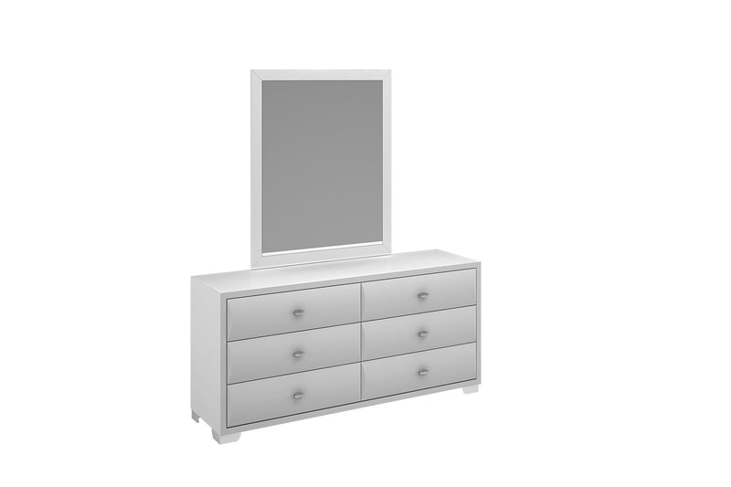 Alexander Dresser Double, high gloss white, 6 drawers, chrome handles, stainless steel legs