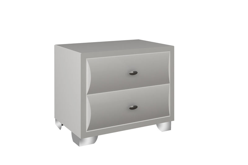 Alexander Night Stand, high gloss white, chrome handles, stainless steel legs