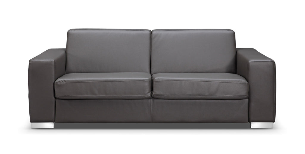 Alfa Sofa bed, Gray Faux Leather, Stainless Steel Legs, 12cm high memory foam mattress included.
