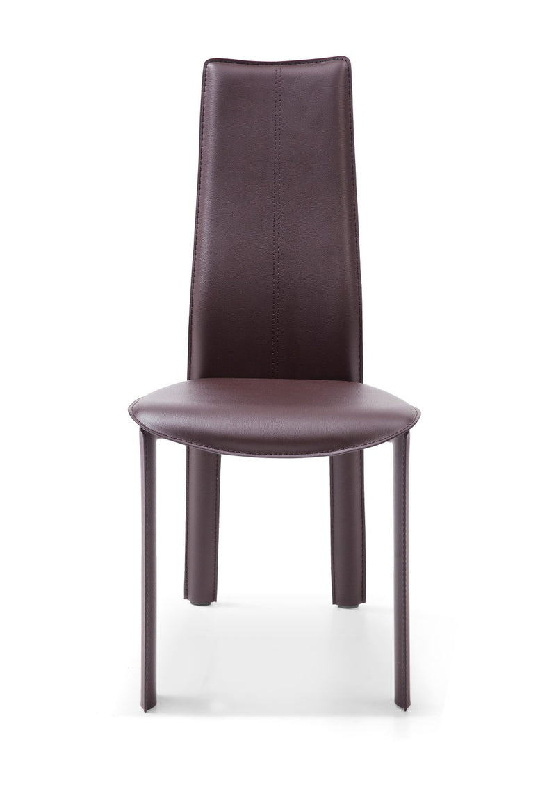Allison Dining Chair, chocolate hard leather, matching stitching