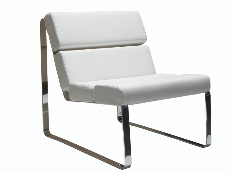 Angel Chair, white faux leather, chrome frame
