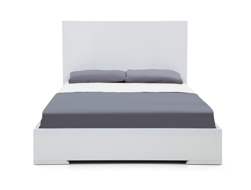 Anna Bed Queen, Squares design in headboard, High Gloss White