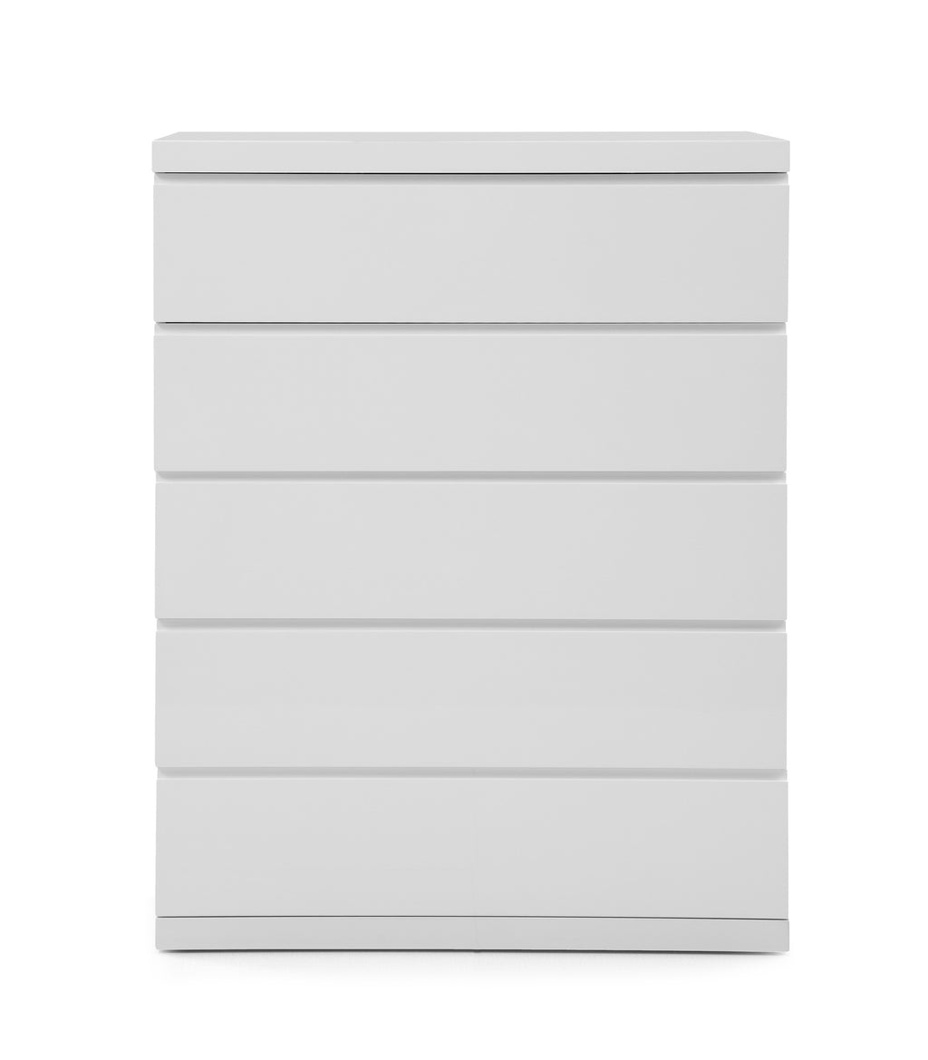 Anna Chest of 5 Drawers, High Gloss White, Full extension drawers