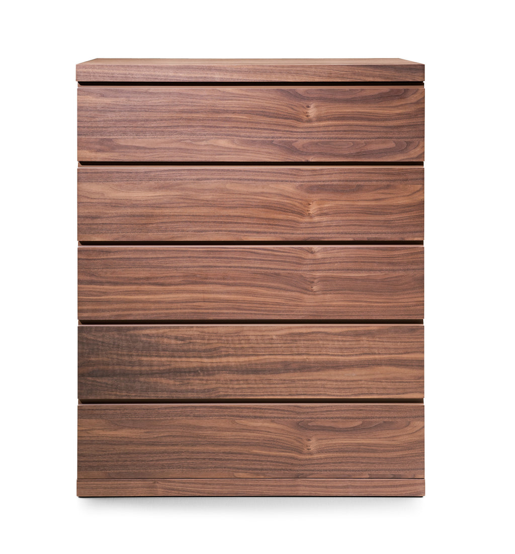 Anna Chest of 5 Drawers, Natural Walnut Veneer, Full extension drawers