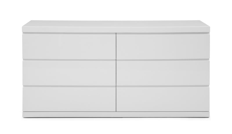 Anna Dresser Double, High Gloss White, Full extension drawers