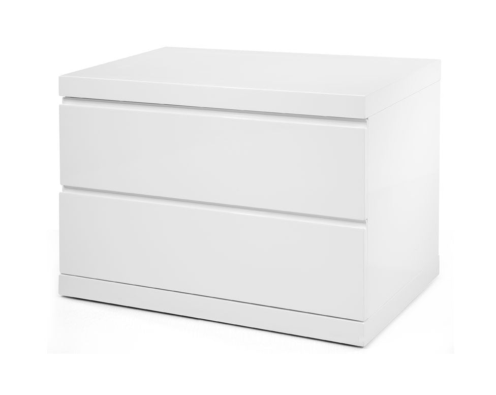 Anna Night Stand Large, High Gloss White, Full extension drawers