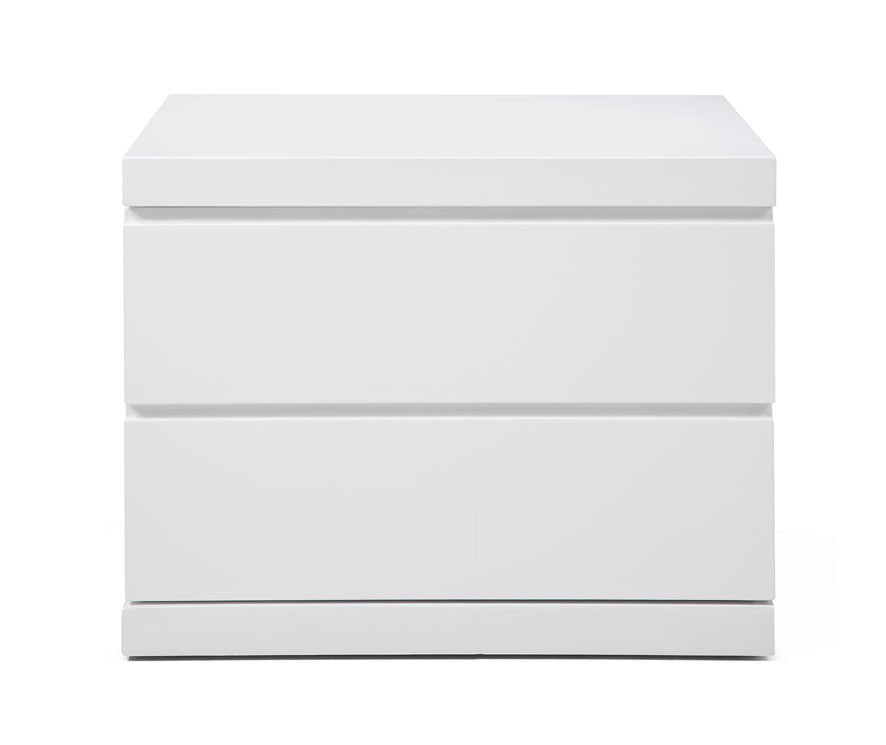 Anna Night Stand small, High Gloss White, Full extension drawers