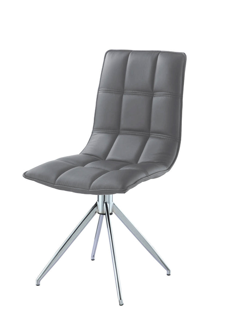 Apollo Swivel Dining Chair, gray faux leather, chrome legs