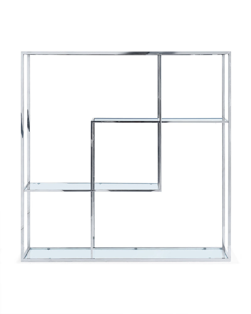 Athos Bookshelf/ Divider, clear glass and stainless steel