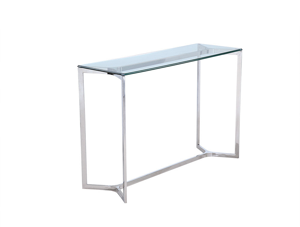 Aventura Console, clear glass, stainless steel base