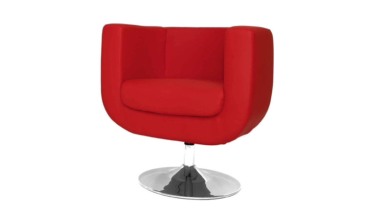 Bliss Swivel Chair, Red faux leather, Chrome base.