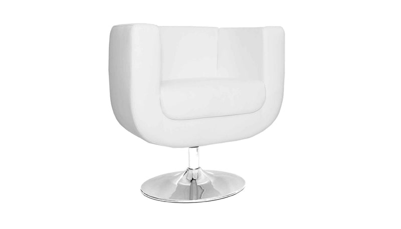 Bliss Swivel Chair, White faux leather, Chrome base.