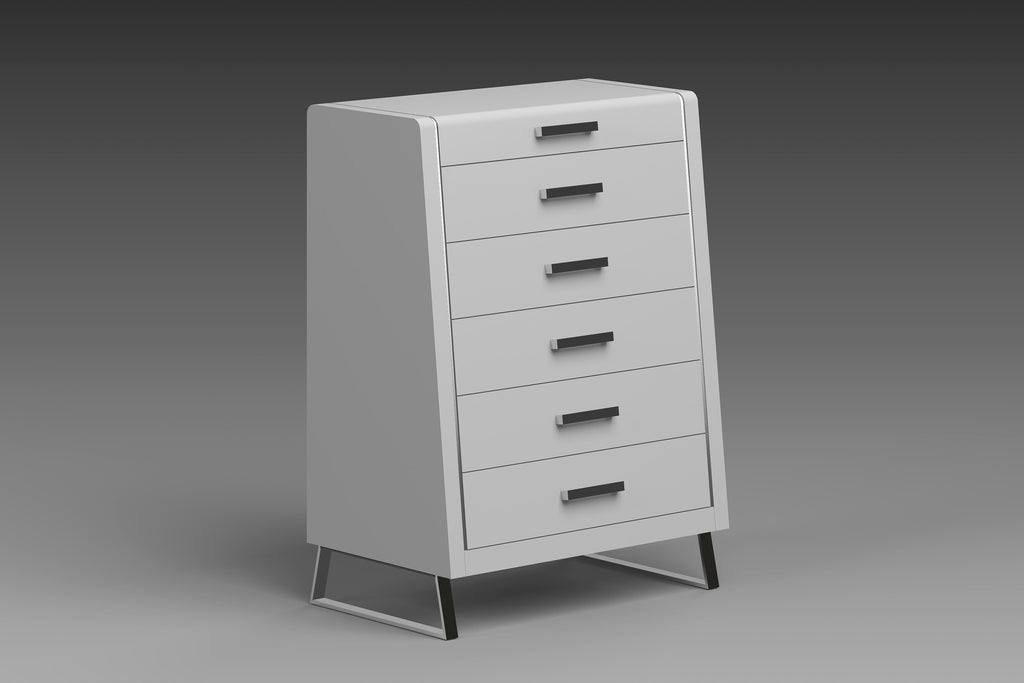 Bahamas Chest of Drawer, High gloss White, Stainless steel legs, Self close drawers
