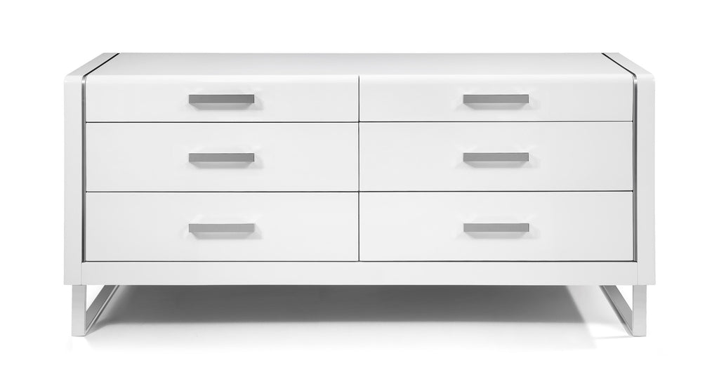 Bahamas Dresser, High gloss White, Stainless steel legs, Self close drawers