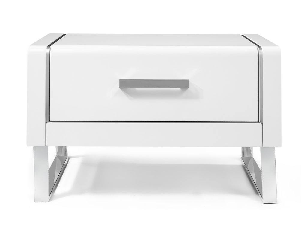 Bahamas Night Stand, High gloss White, Stainless steel legs, Self close drawers