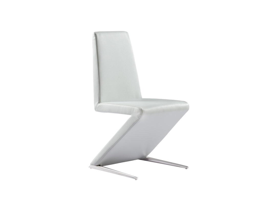 Bali Dining Chair, white faux leather, polished stainless steel base, elastic webbing seat