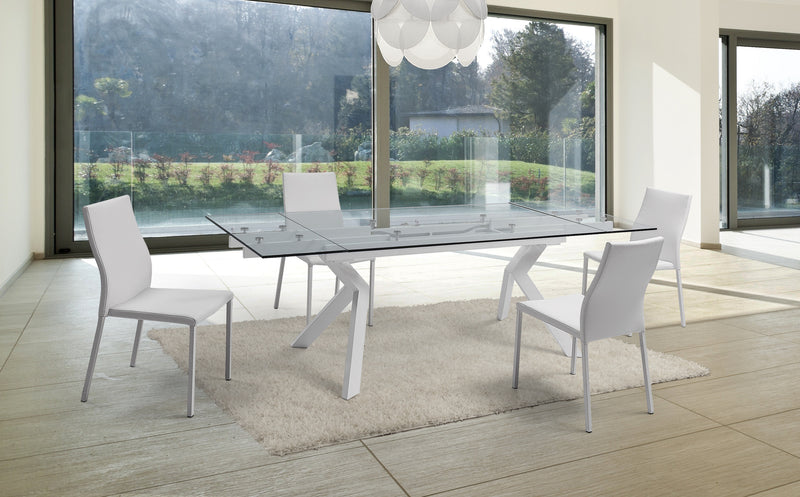 "banco extendable dining table 1/2"" tempered clear glass top"
