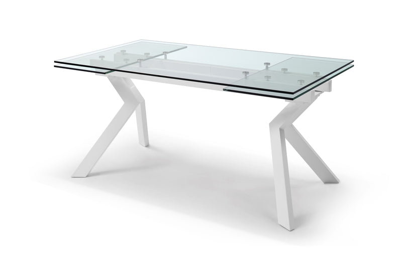 "Banco Extendable Dining Table 1/2"" tempered clear glass top, high gloss white aluminum frame and legs"