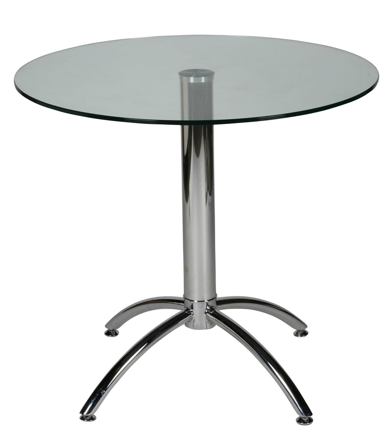 Betty Round Dining Table, 7/16 tempered clear glass top, chrome base
