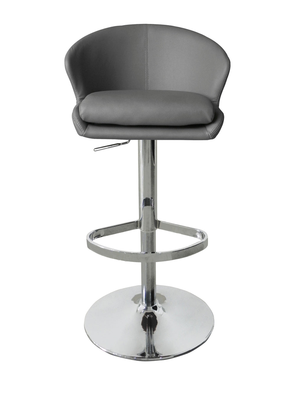Beverly Barstool, Gray Faux Leather, Chrome base