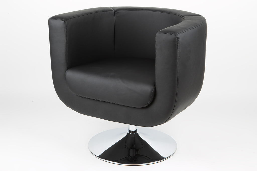 Bliss Swivel Chair, Black faux leather, Chrome base.