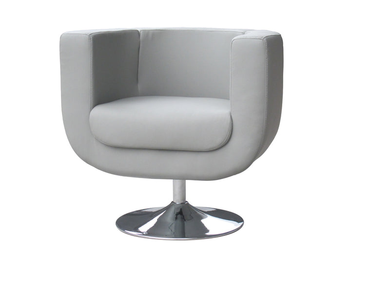 Bliss Swivel Chair, Gray faux leather, Chrome base.