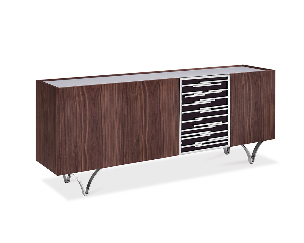 Braxton Buffet, walnut veneer, frosted glass top, acrylic door with stainless steel accents and stailess steel legs
