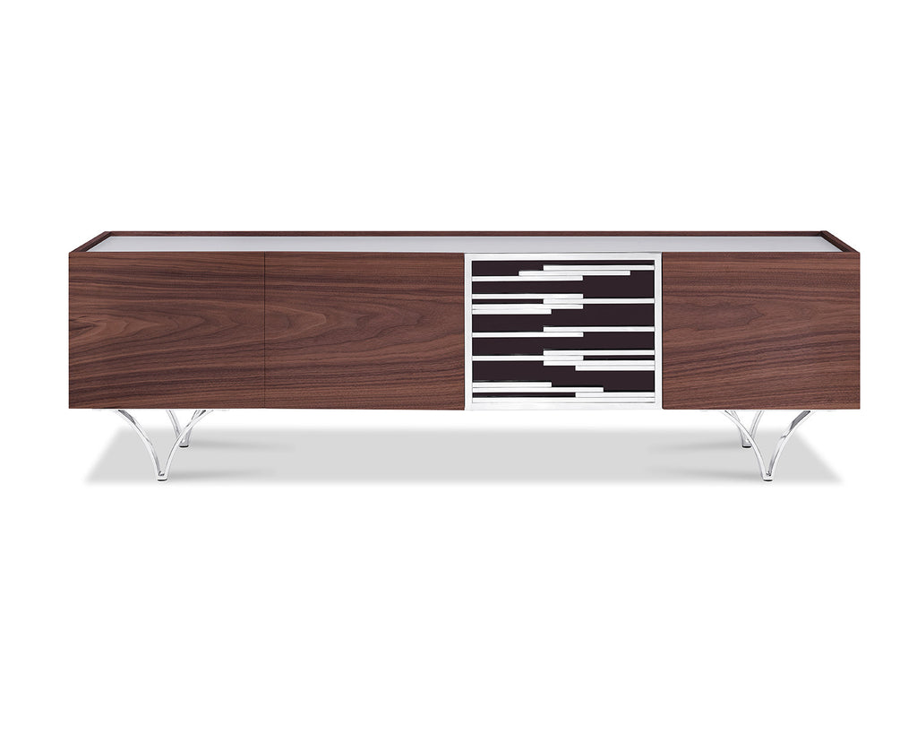 Braxton TV Unit, walnut veneer, frosted glass top, acrylic door with stainless steel accents and stailess steel legs