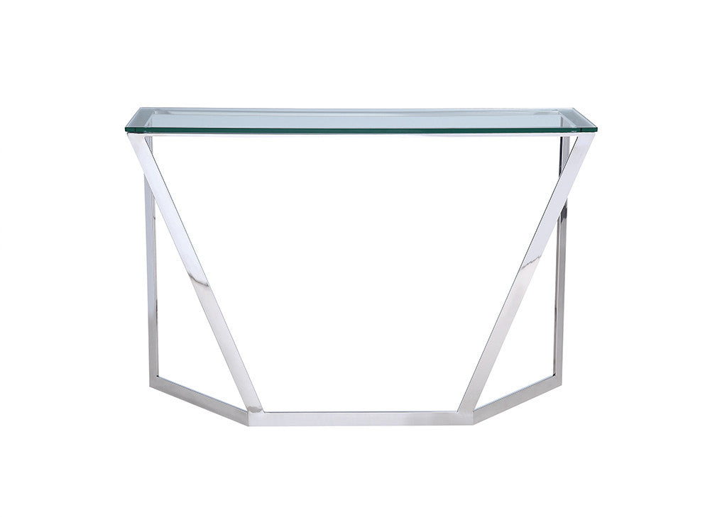 Brio Console, clear glass, stainless steel base
