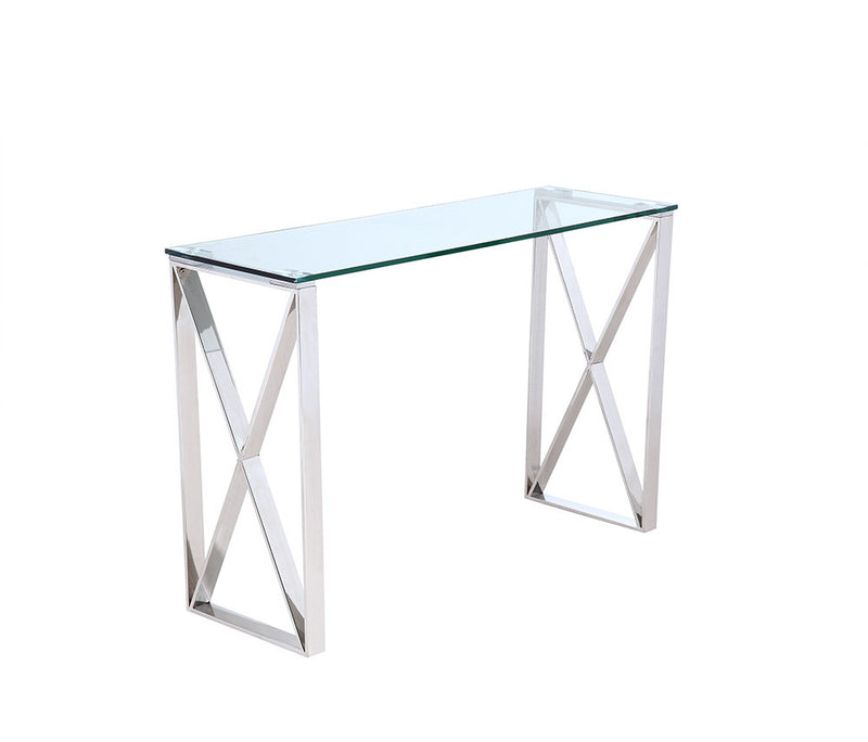 Brooke Console, clear glass, stainless steel base