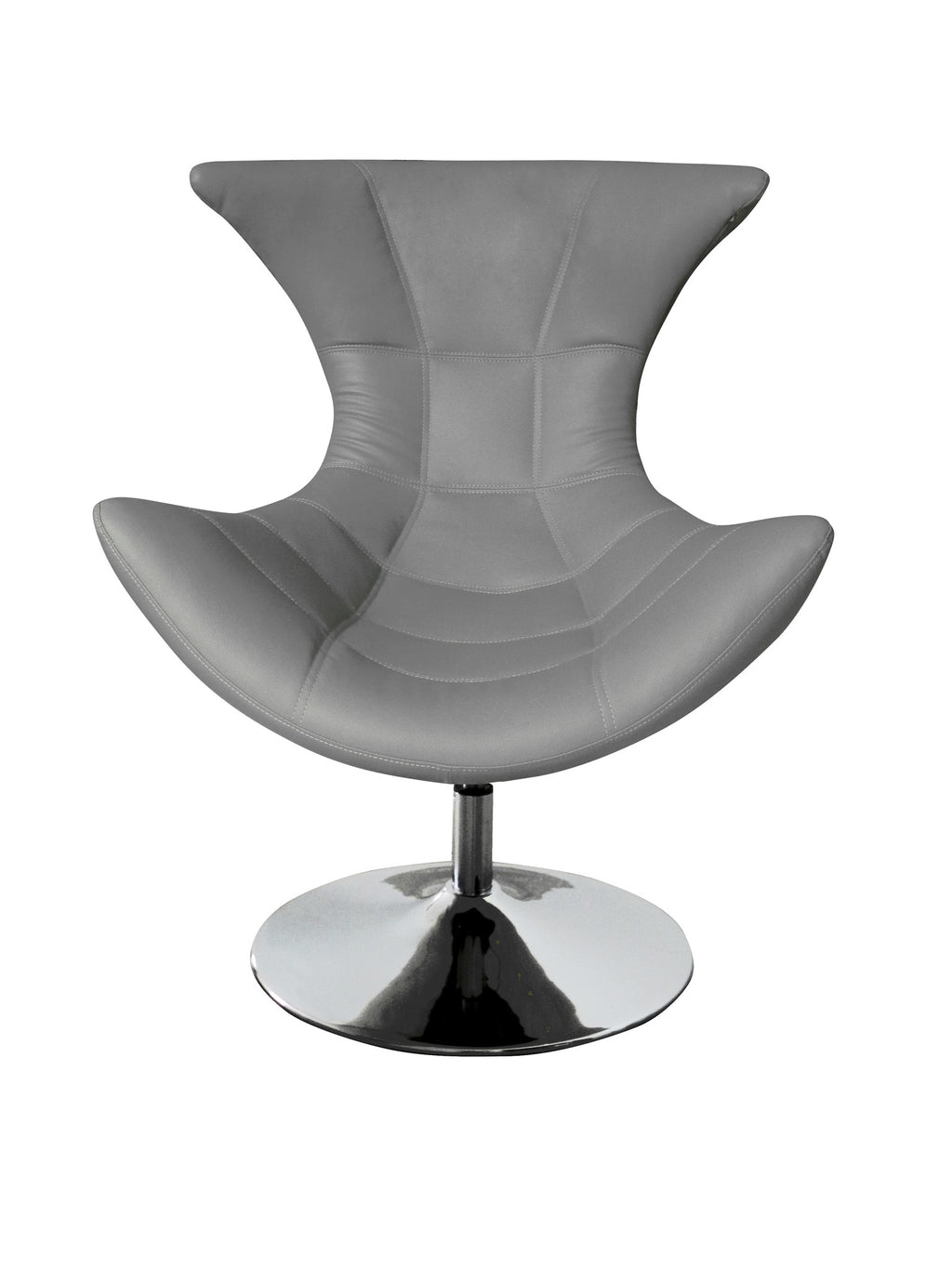 Charlotte Swivel Chair, Gray faux leather, Chrome base.