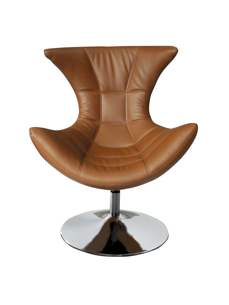 Charlotte Swivel Chair, Tan faux leather, Chrome base.