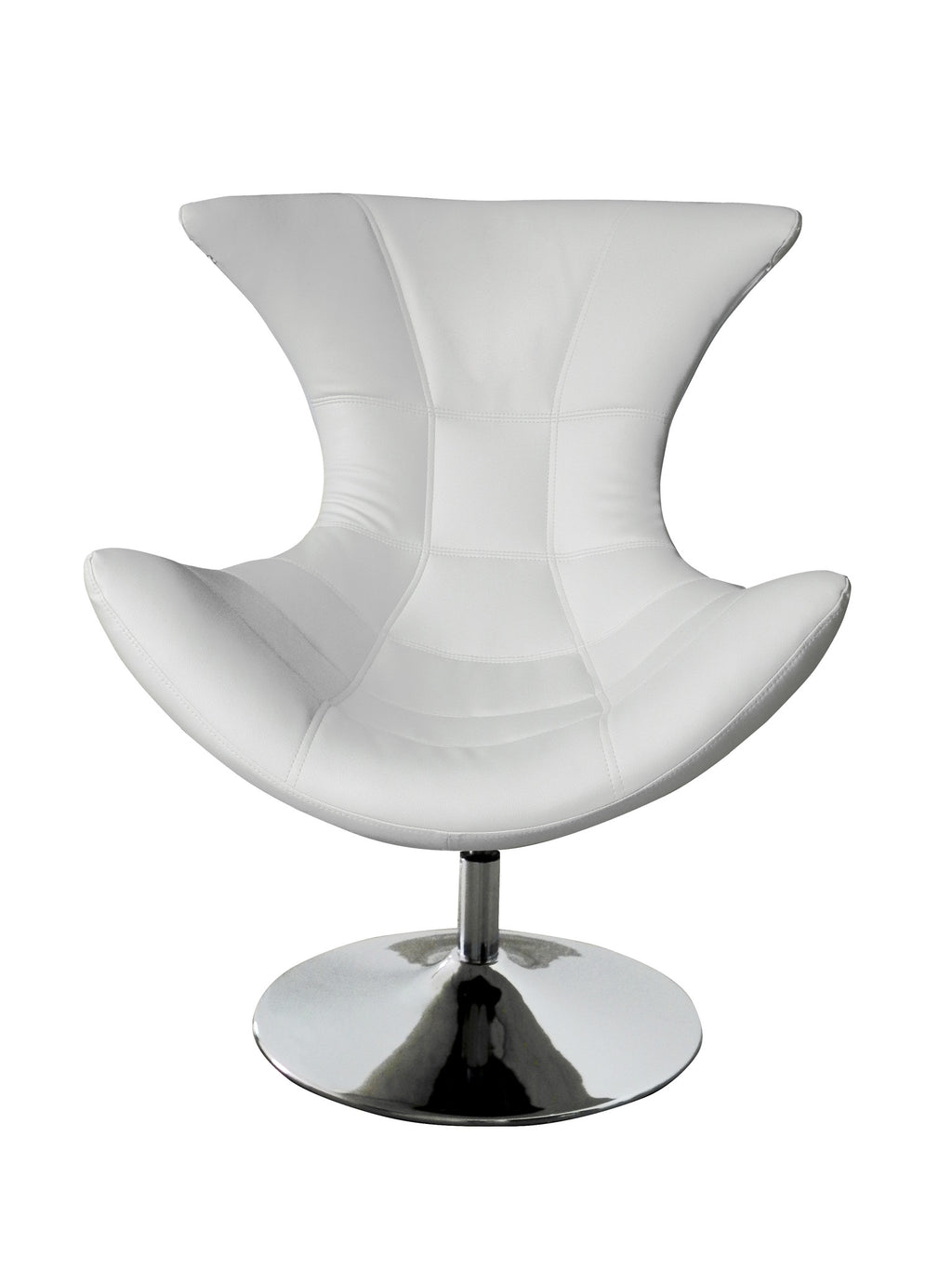 Charlotte Swivel Chair, White faux leather, Chrome base.