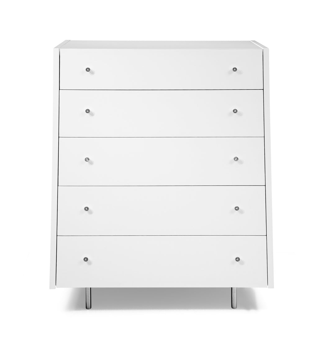 Concavo Chest of Drawers, high gloss white, stainless steel legs, self-closing drawers.