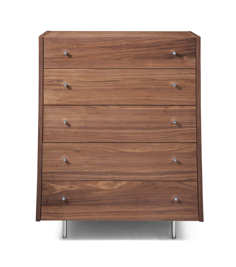 Concavo Chest of Drawers, Natural walnut veneer, stainless steel legs, self-closing drawers.