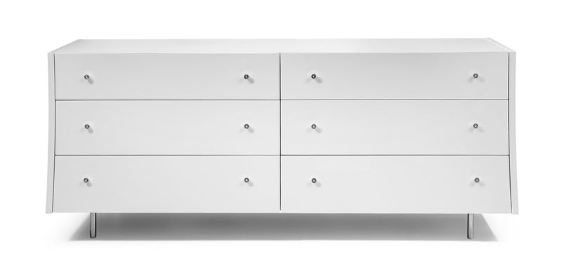 Concavo Dresser, high gloss white, stainless steel legs, self-closing drawers.