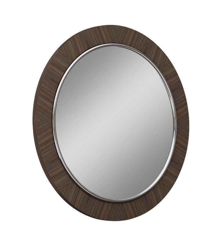 Concavo Mirror, Natural walnut veneer and stainless steel
