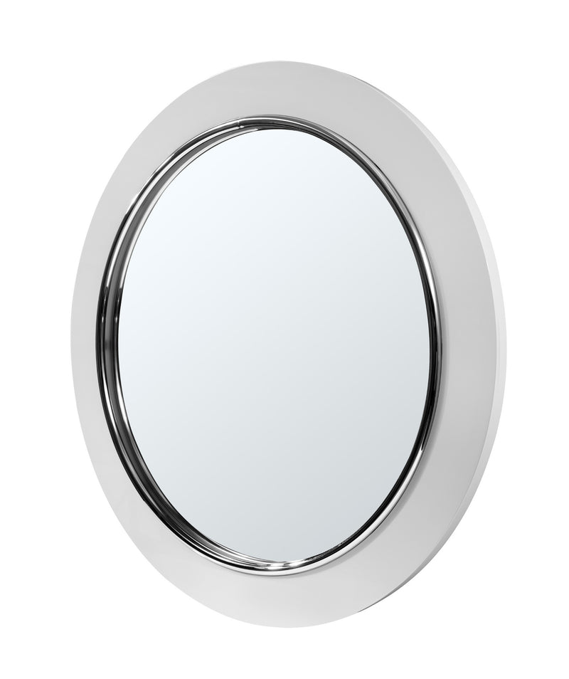 Concavo Mirror, high gloss white and stainless steel