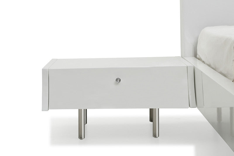 Concavo Night Stand, high gloss white, stainless steel legs, self-closing drawers, can be attached to panels (sold seperately)