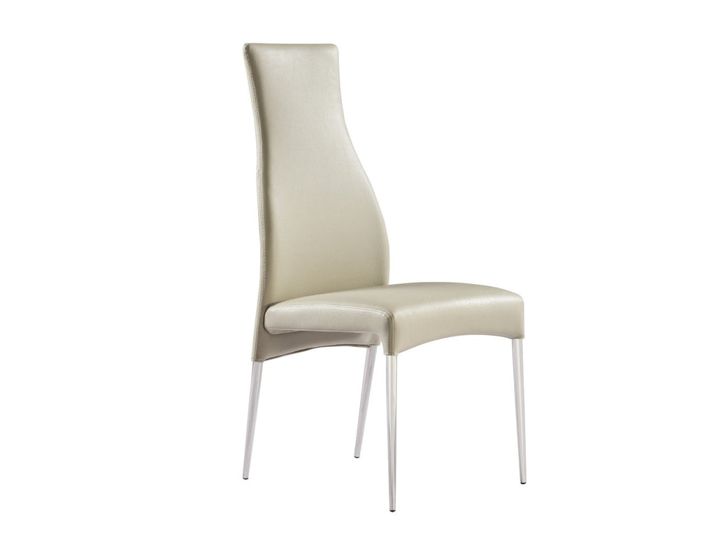 Curtis Dining Chair, taupe faux leather, polished stainless steel legs.